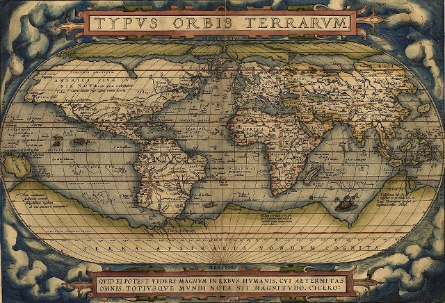 The world Ortelius' Typus Orbis Terrarum, first published 1564. Library of Congress.